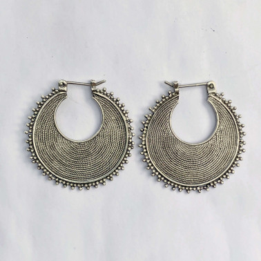 ER 12359-(925 BALI SILVER TWISTED WIRED EARRINGS 28 MM)